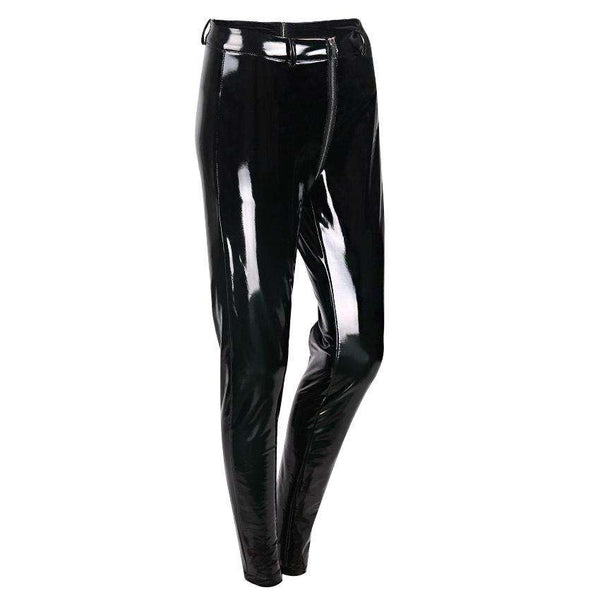 Sexy Butt Zipper Patent Leather Skinny Hosen