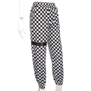 Checkerboard Print Loose Pants - Lupsona