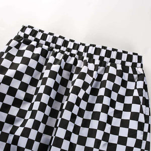 Checkerboard Tulosta Loose Pants - Lupsona