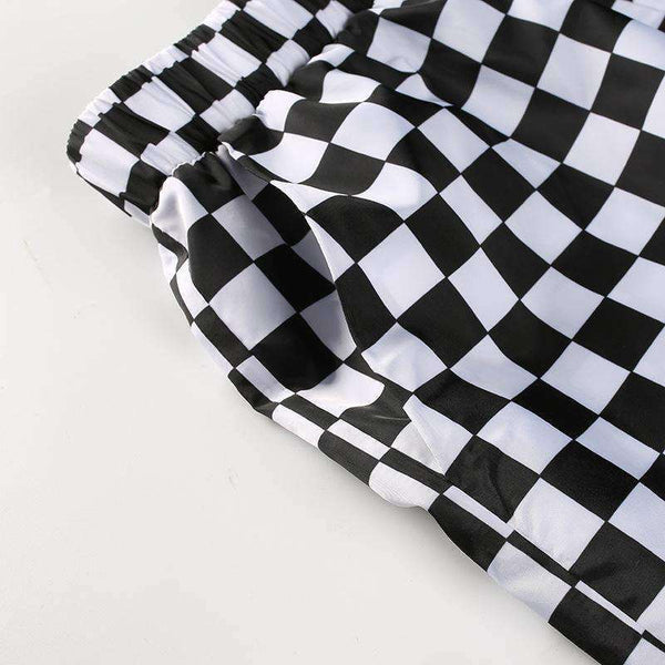 Checkerboard Imprimare Loose Pants - Lupsona