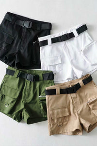 Strooss Chic solid Faarf Cargo Shorts - Lupsona