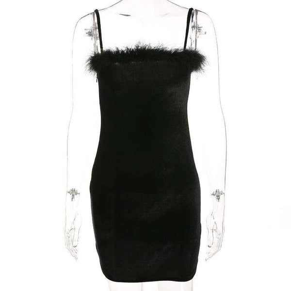 Black Furry Bodycon Slip Dress - Lupsona