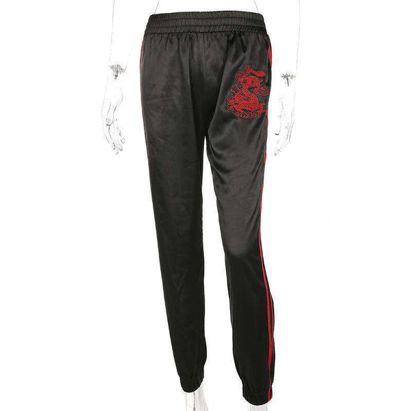 Punk Dragon Embroidered Casual Jogger Pants