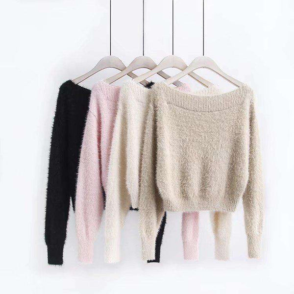Furry Mohair Off-shoulder Loose Sweater - Lupsona
