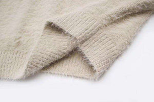 Furry Mohair Off-shoulder Loose Sweter - Lupsona