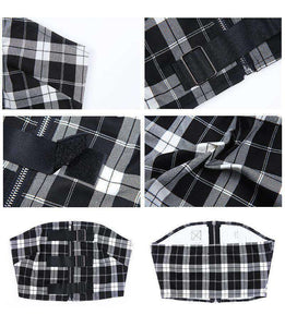 Checks Print Buckles Dettaglio Zipper Tube Crop Top - Lupsona