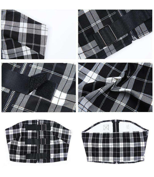 Checks Print Buckles Detail Zip Tube Crop Top - Lupsona