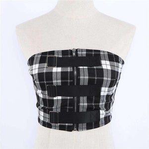 Checks Print Buckles Detail Zipper Tube Crop Top - Lupsona