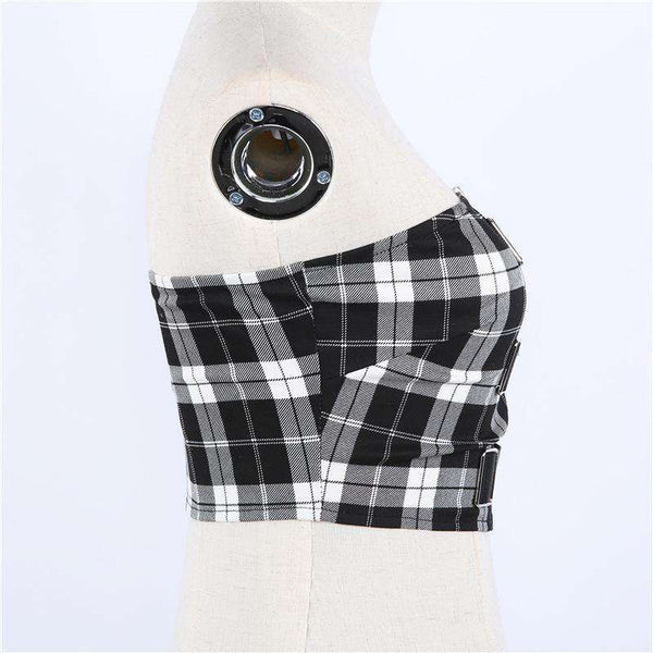 Checks Print Buckles Detail lynlås Tube Crop Top - Lupsona