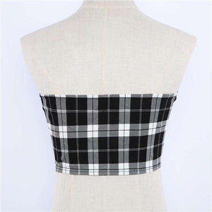 Checks Print Buckles Detail Glidelås Tube Crop Top - Lupsona