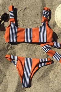 Back Bowtie Stripes Patch 2 Pieces Bikini Set - Lupsona