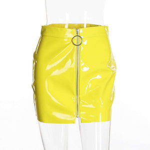 Patent Leather Front Zipper Package Hip Skirt - Lupsona