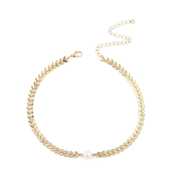 Einfach Pearl Pearl Pads Choker Necklace