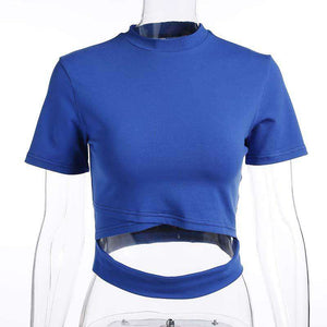 Solid Color Hollow Out Short Sleeve T-shirt - Lupsona
