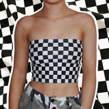 Cool Checker Tlačiť Crop Tube Top - Lupsona