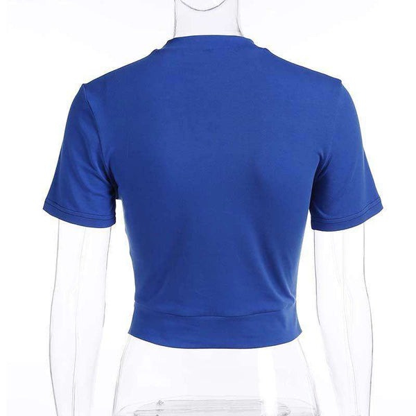 Solid Color Hollow Out Short Sleeve T-shirt