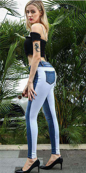 Cool Color Patch High Jeans talie subțire - Lupsona