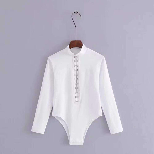 Front Buckles High Collar Bodysuit Top - Lupsona