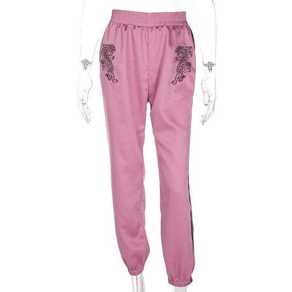 Pantalon punk brodé rose punk