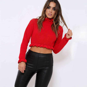 Pleated Edge Solid Color Crop Sweater - Lupsona