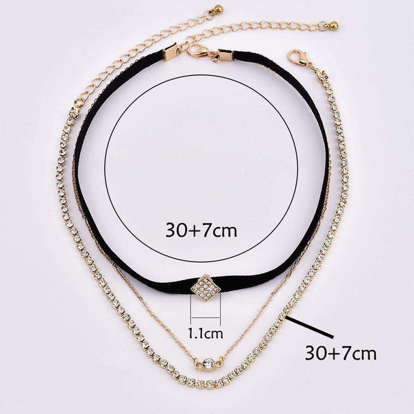 Diamond Shaped Rhinestones Multi-layer Necklace Set - Lupsona