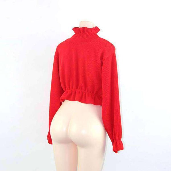 Pleated Edge Volltonfarbe Crop Sweater
