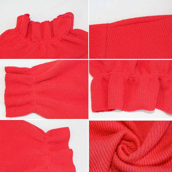 Pleated Edge Solid Colour Sweater
