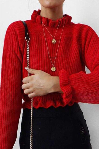 Pleated Edge Solid Color Crop Sweater