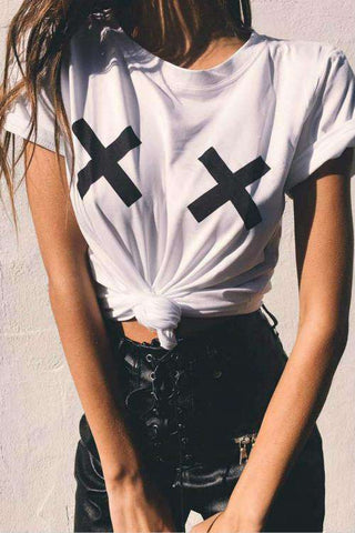 Cross Detail Basic T-shirt