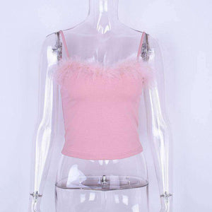 Pinkki Furry Cami Strappy Top - Lupsona