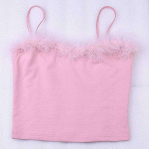 Pink Furry Cami Strappy Top