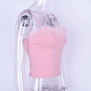 Pink Furry Cami Strappy Top - Lupsona