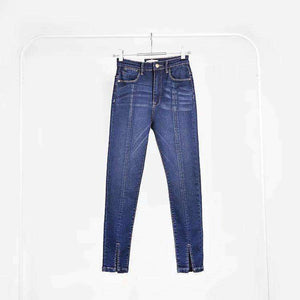 Front Slit Héich Taille Skinny Jeans - Lupsona