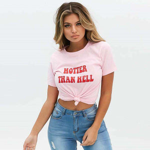HOTTER THAN HELL Letter Print Casual T-Shirt - Lupsona