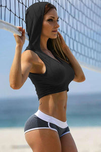 Sporty Yoga Cropped Hoodie Top - Lupsona