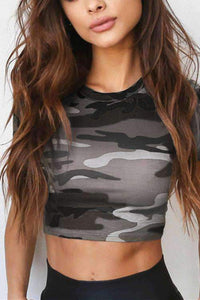 Camouflage Print Cotton Cropped T-shirt - Lupsona