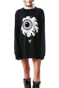 Punk Eyeball Pattern Loose Sweatshirt