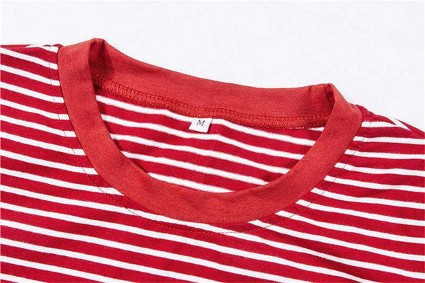 90XCHARXS BABY Red Stripe Letter Print Casual T-shirt - Lupsona