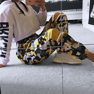 camouflage contrast color patchwork tie-up harem pants - Lupsona