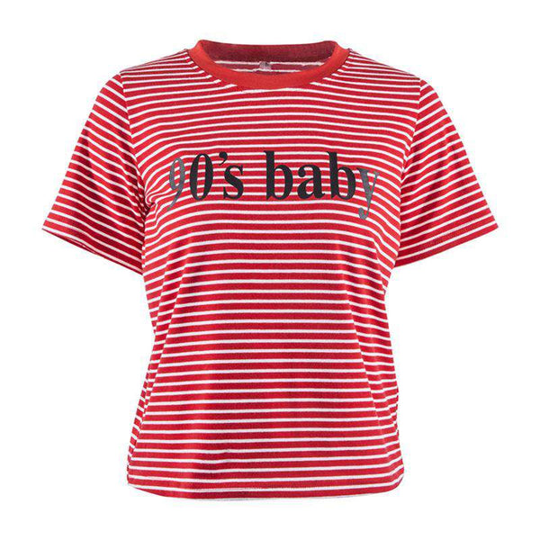 90'S BABY Red Stripe Letter Natisni Casual T-shirt - Lupsona
