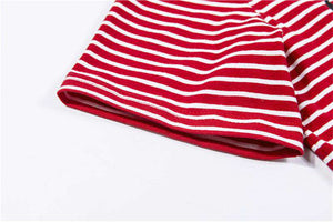 90'S BABY Red Stripe Carta Imprimir Casual T-shirt - Lupsona