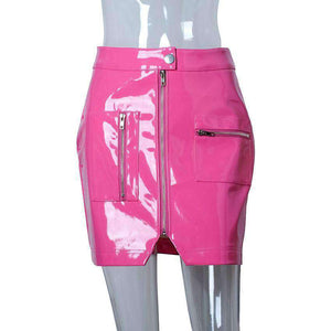 Pink Patent Leather Zipper Sexy Package Hip Skirt - Lupsona