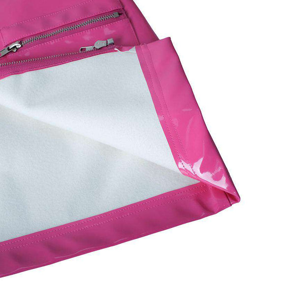 Pink Patent Leather Zipper Sexy Package Hip Skirt