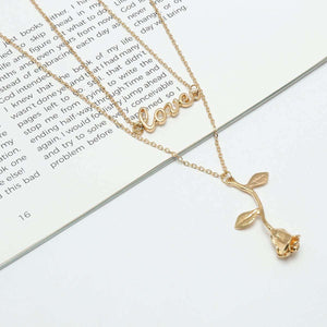 Love Letters Rose Pendant Choker Necklace - Lupsona