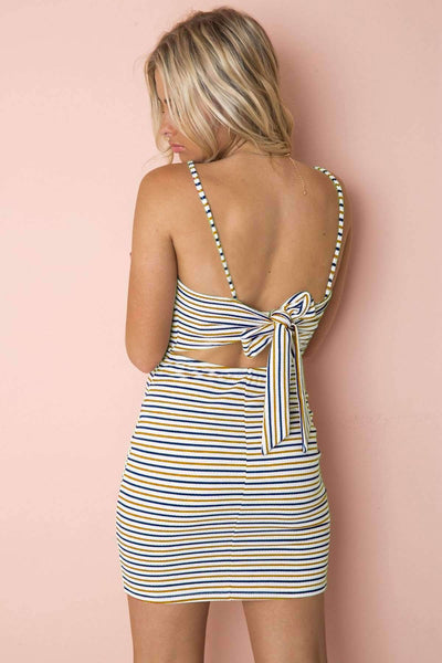Colorful Stripes Tie-up Slim Dress - Lupsona