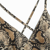 Deep V Back-cross Snake Print Strappy Crop Top
