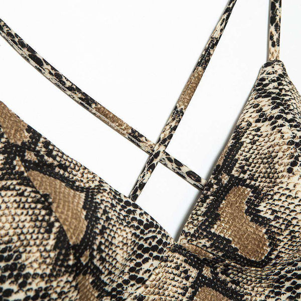 Deep V Back-cross Snake Print Strappy Crop Top - Lupsona