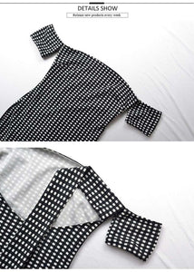 Black White Gingham Back Tie-up Slim Kleed - Lupsona