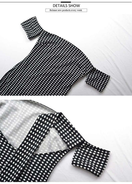 Black White Gingham Back Tie-up Slim Dress - Lupsona