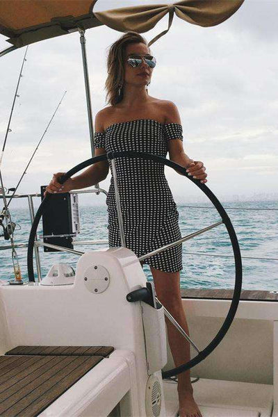 Czarna Biała Gingham Back Tie-up Slim Dress - Lupsona